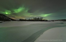 Abisko river and aurora borealis, Sweden