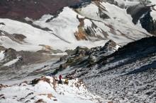 Ascending the upper slopes of Aconcagua