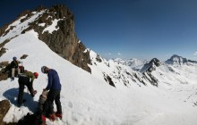 Whetterhorn, gearing, up, for, summit, San Juan Mountains, Colorado, mountaineering, climbing
