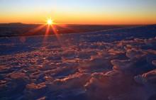 Sunrise from summit of Lanin Volcano