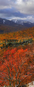 Adriens Acres,vertical panorama,snow,autumn snowfall,snowfall,autumn,dusting,October,Johns Brook Valley,Great Range,Keene Valley