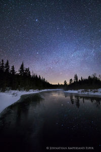 Big Brook at night with stars reflected in forming ice