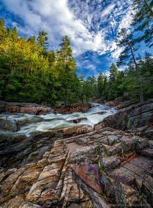 Griffin Falls and gorge along East Branch Sacandaga River in spring