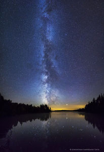 Lake Kushaqua reflection of Milky Way galaxy and stars