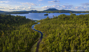 Middle Saranac Lake,drone,aerial,island,summer,sunset,summer sunset,Saranac Lakes,Adirondack Park,lake,waters,inlet,Middle Saranac Lake inlet,canoe put-in,put-in,Saranac Lake,
