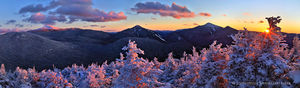 Phelps Mt summit alpenglow on Mt Marcy, Colden, Algonquin peaks