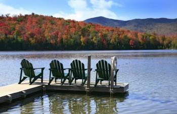 Adirondack Chairs on Heart Lake, autumn