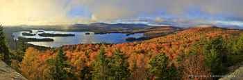 Blue Mountain Lake 180 degree panorama from Castle Rock in autumn