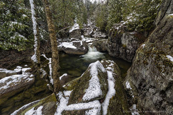 Boquet River North Fork gorge after April snowfall