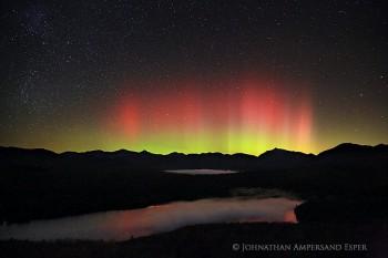 Clear Pond Red Aurora Borealis