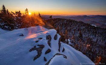 Crane Mt summit spindrift snow crystals at sunrise