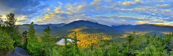 Heart Lake yellow sunrise light fr Mt Jo