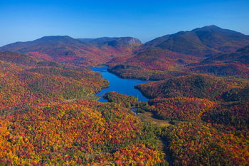 Henderson Lake, Wallface, and Algonquin aerial view over the Adirondacks