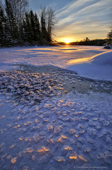 Lake Durant snow crystals winter sunrise