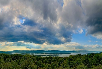 Lake George August sunrays fr Pilot Knob