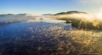Long Lake, Round Island, and Kempshall Mt morning fog