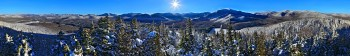 Mt Jo winter 360 degree treetop panorama of High Peaks