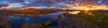 Oseetah Lake 270 degree drone panorama in early spring, including Scarface Mt