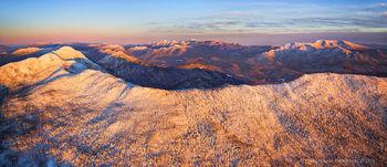 Seward Range from over Donaldson ridge 180 degree aerial pano w High Peaks and Santanoni