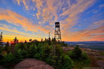 St Regis Mountain summit firetower summer sunrise