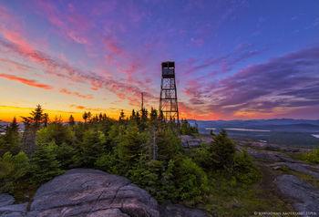 St Regis Mt summit and firetower dawn over the Adirondacks