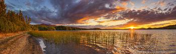 Middle Saranac Lake shoreline near Ampersand, summer sunset