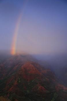 Waimea Canyon rainstorm at sunset