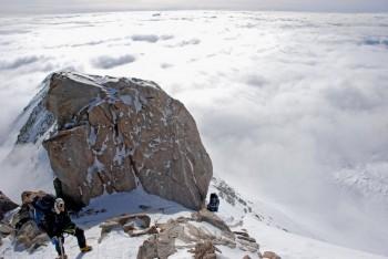 Climbing above Washburns Thumb Rock