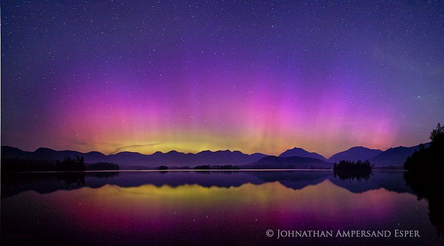 Elk Lake,Aurora Borealis,Northern Lights,Elk Lake Aurora Borealis,night,sky,Dix Range,Dix,High Peaks,night sky,