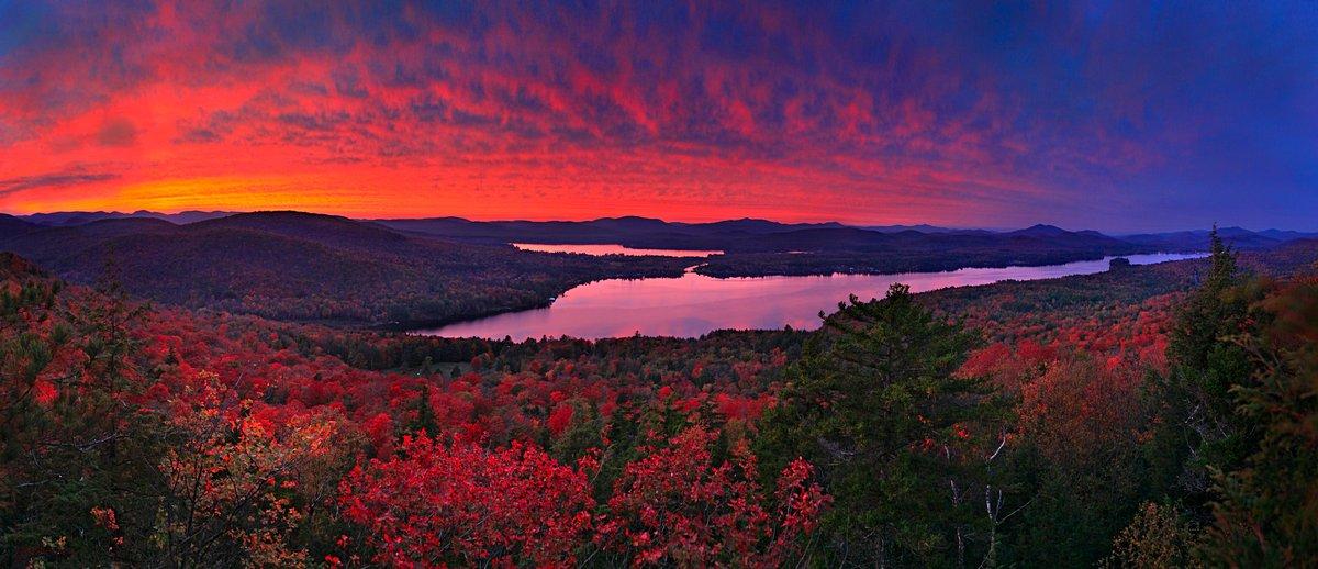 treetop,Lake Pleasant,fiery,red,sunset,Sacandaga Lake,Dunham Mt,