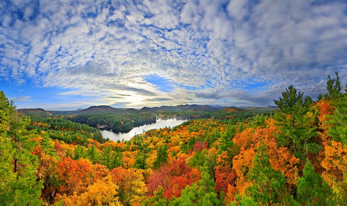 Lake Luzerne,oaks,autumn,treetop,hdr,orange,yellow,dramatic,sky,fall,foliage,Luzerne,town,of,