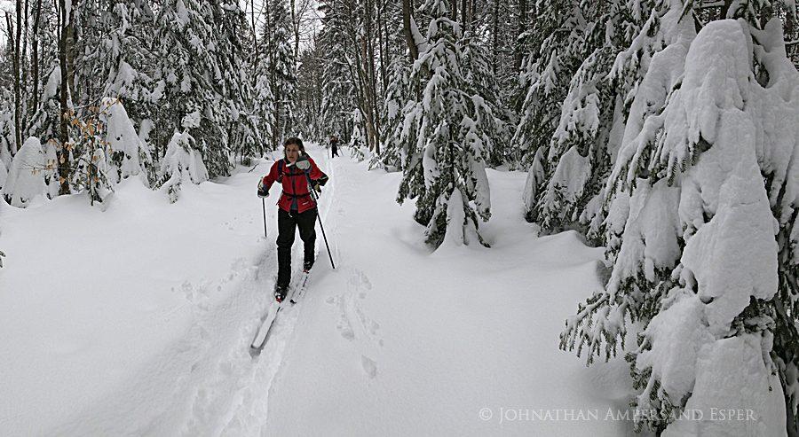 assignment,sample,Adirondack Life,magazine,photo,commissioned,skiers,Adirondack Park, Botheration Pond,skiing,x-c skiing, photo