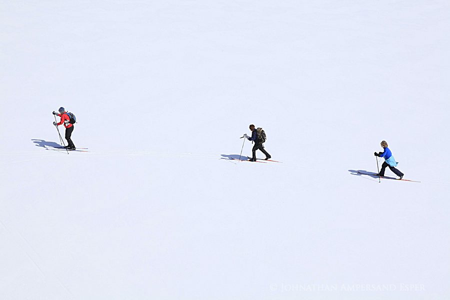 assignment,sample,Adirondack Life,magazine,photo,commissioned,skiers,Adirondack Park, Botheration Pond,treetop, photo