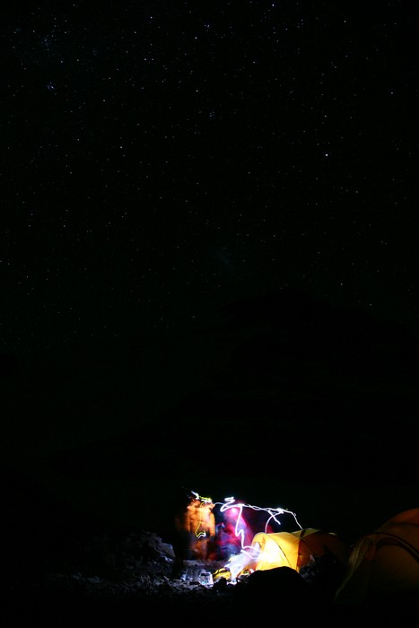 summit day, night, Aconcagua, High Camp, starry, early, cold, morning, photo