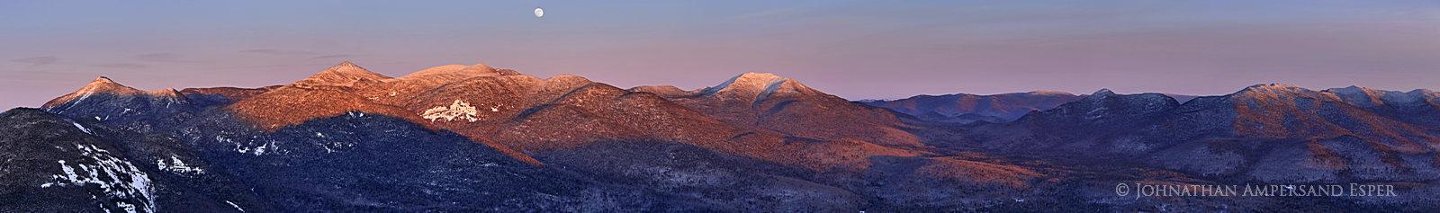 Mt Adams,Mt Adams firetower,firetower,Adirondack High Peaks,Adirondack Mountains,alpenglow,moon,winter, photo