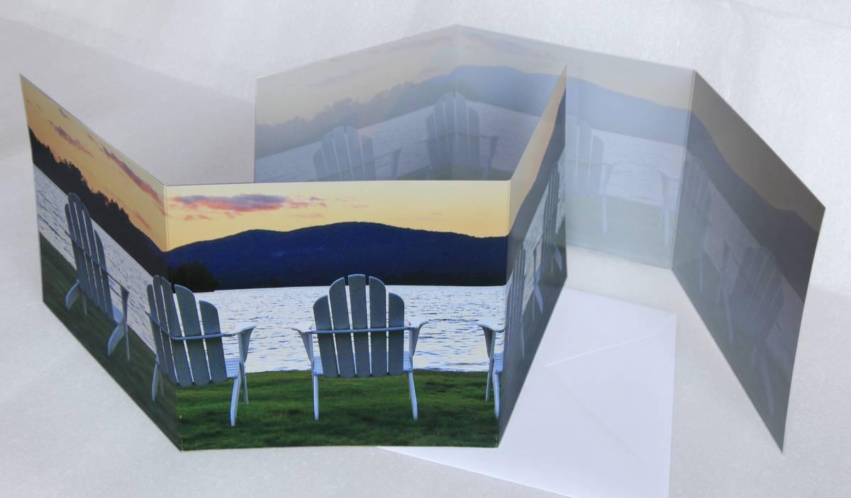 trifold,notecard,Adirondack,chairs,photo,Blue Mountain Lake, photo