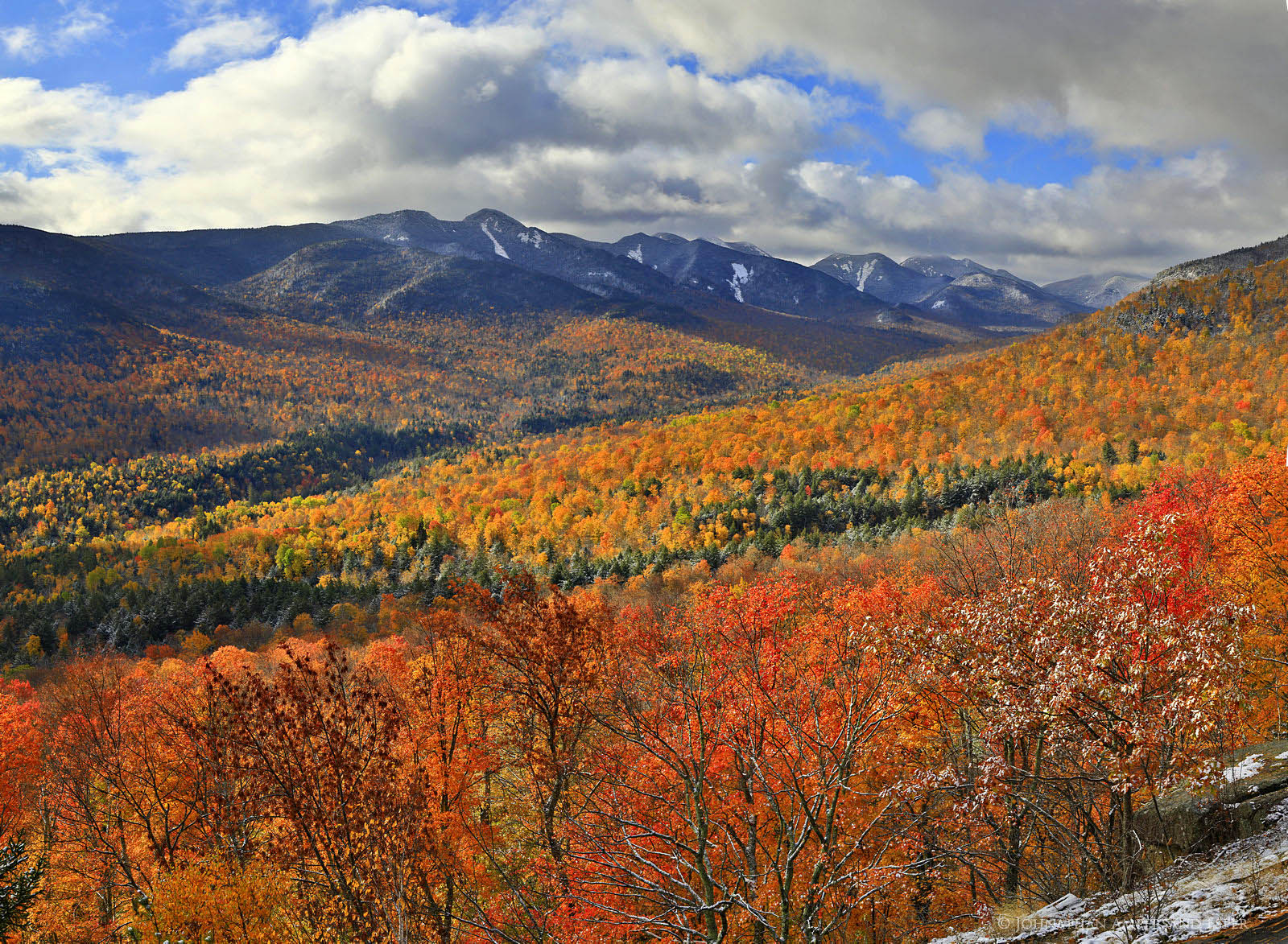 Great Range,Adriens Acres,viewpoint,Johns Brook Valley,autumn snowfall,autumn,early,snowfall,dusting,snow,Big Slide Mt,Adirondack,High Peaks,Adirondack Mountains,, photo