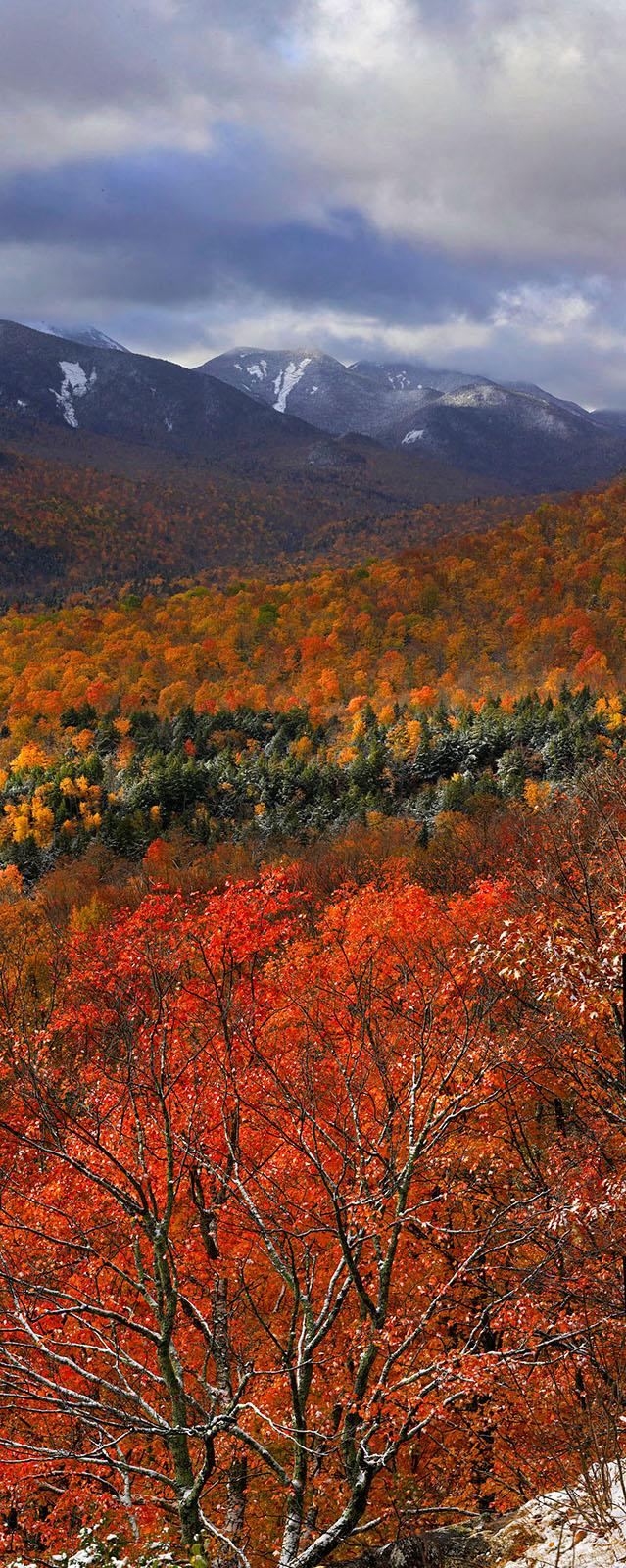 Adriens Acres,vertical panorama,snow,autumn snowfall,snowfall,autumn,dusting,October,Johns Brook Valley,Great Range,Keene Valley, photo