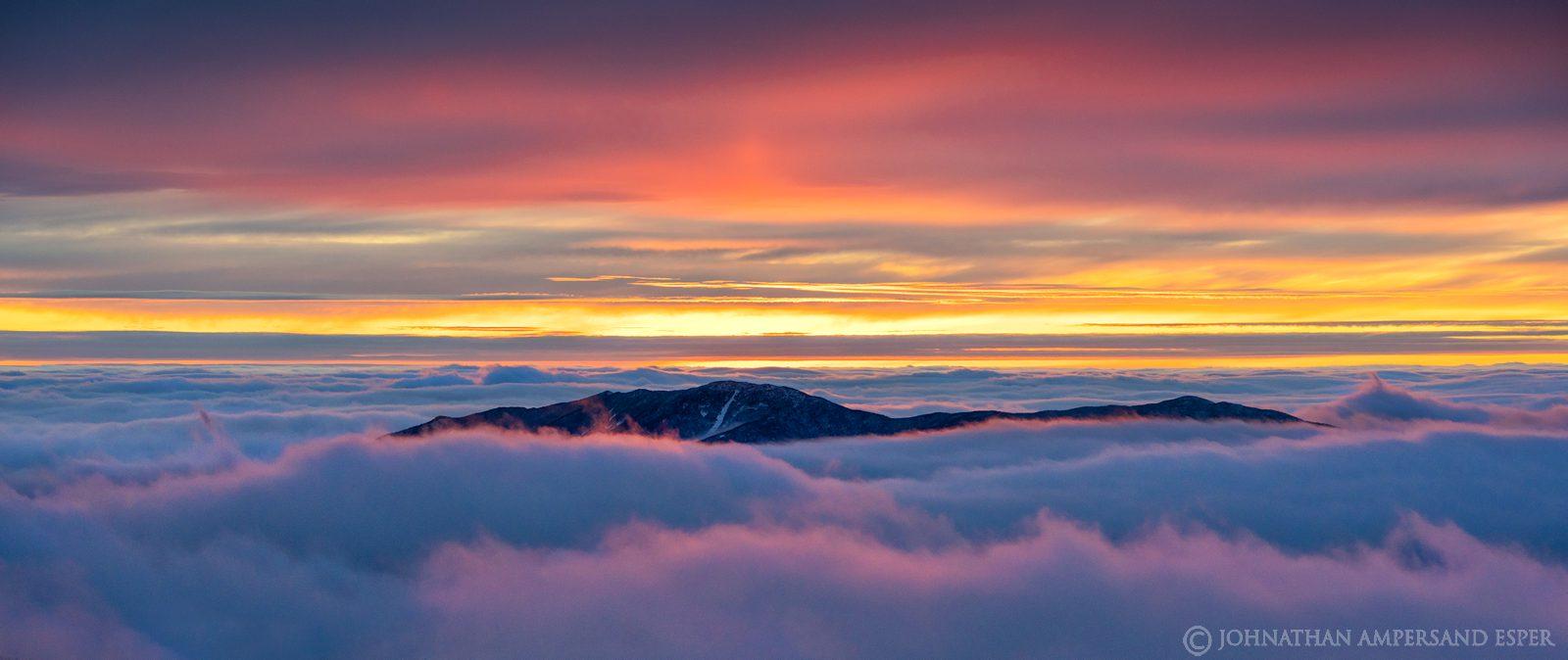 Santanoni Peak,Santanoni,January,winter,Algonquin,above the clouds,clouds,cloud inversion,2021,High Peaks