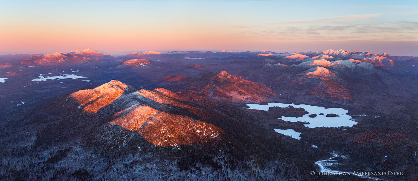 Ampersand Mt,Ampersand,Ampersand Lake,Whiteface Mt,Whiteface,Adirondack High Peaks,High Peaks,Adirondack mountains,winter,aerial,winter aerial,panorama,, photo