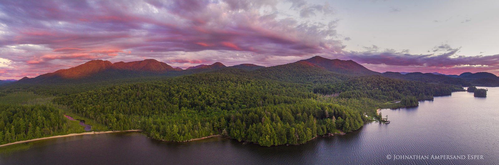 Middle Saranac Lake,drone,aerial,island,summer,sunset,summer sunset,Saranac Lakes,Adirondack Park,lake,waters,Ampersand Bay,Ampersand Mt,alpenglow,panorama,Johnathan Esper,Adirondacks,Saranac Lake, photo