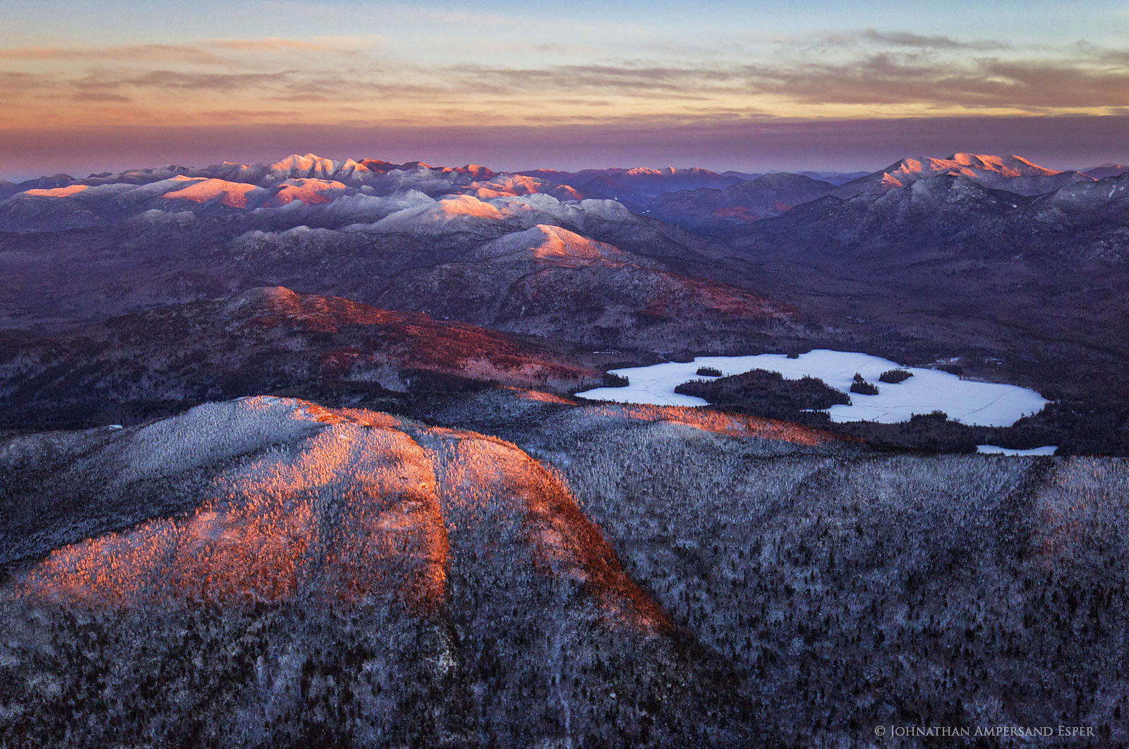 Ampersand Mt,Ampersand Mountain,Ampersand Lake,Seward Range,High Peaks,Adirondacks,winter,alpenglow,sunset,aerial,cold,Adirondack Park,, photo