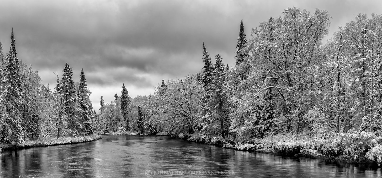 Ausable River,black and white,River Road,River Rd,spring snowfall,spring,snow,