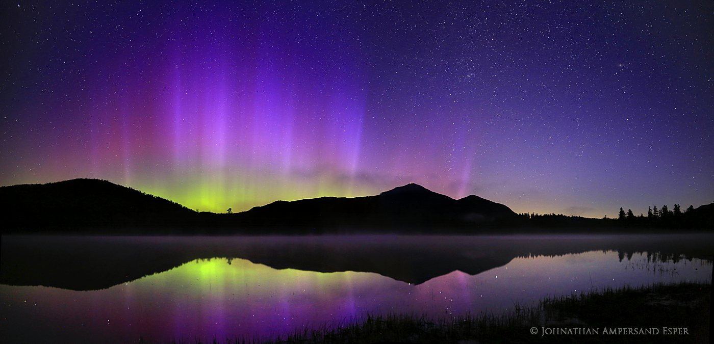 Aurora Borealis strong display over Whiteface Mt and Connery Pond, Adirondack Park, May 2013. (natural unenhanced colors...