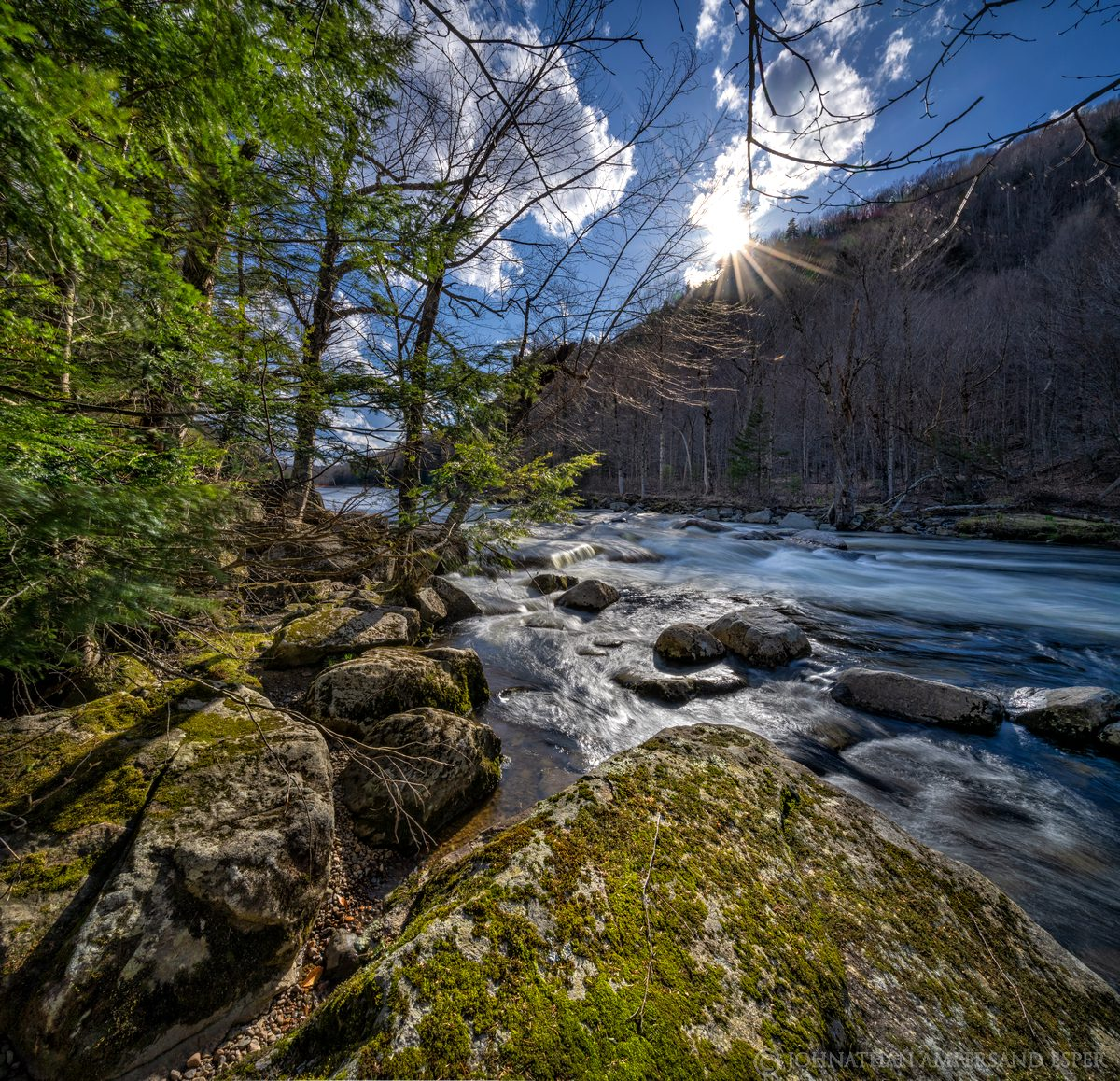 Ausable River,Wilmington Notch,spring,May,2020,square,sunny,river,rocks,moss, photo