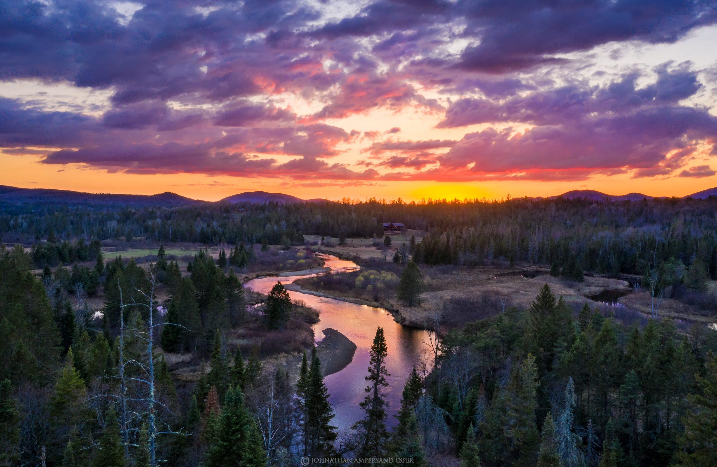 River Road,Ausable River,April,2021,sunset,drone,