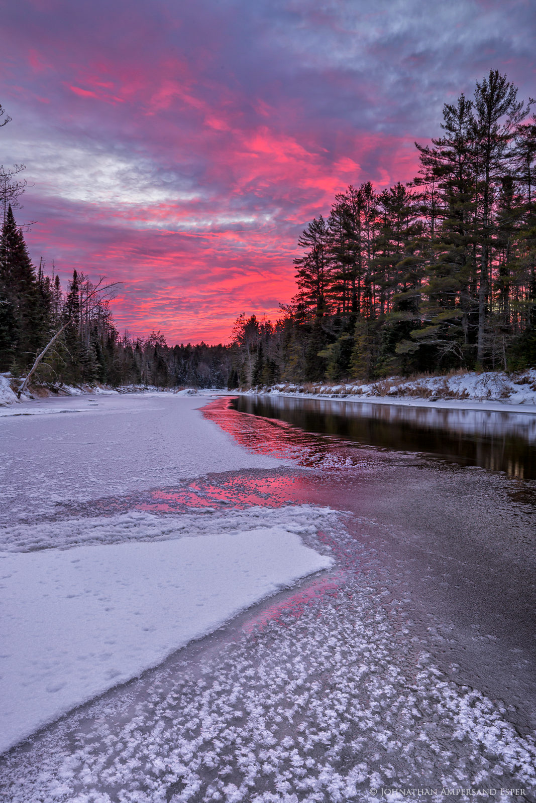 Wilmington Notch,Ausable River,sunset,ice,forming ice,December,winter,cold,AuSable River,, photo