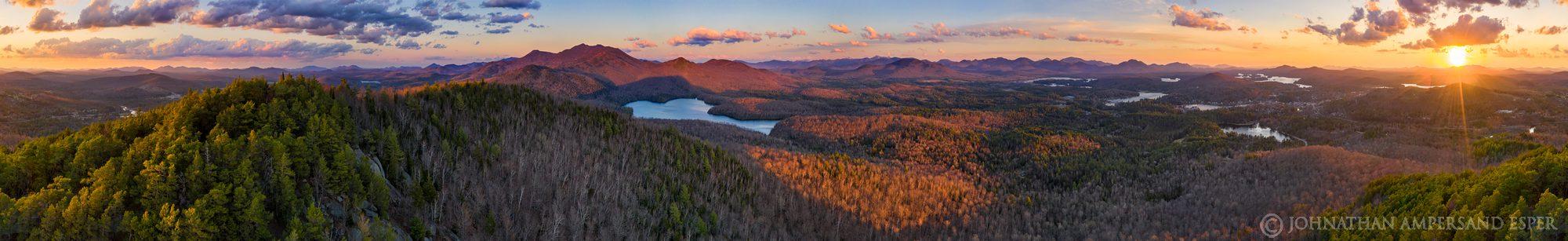 Baker Mt,drone,360 degree panorama,panorama,360,aerial,May,spring,2020,sunset,Saranac Lake,Saranac Lake village,town of Saranac Lake,McKenzie Mt,McKenzie Pond,High Peaks,, photo