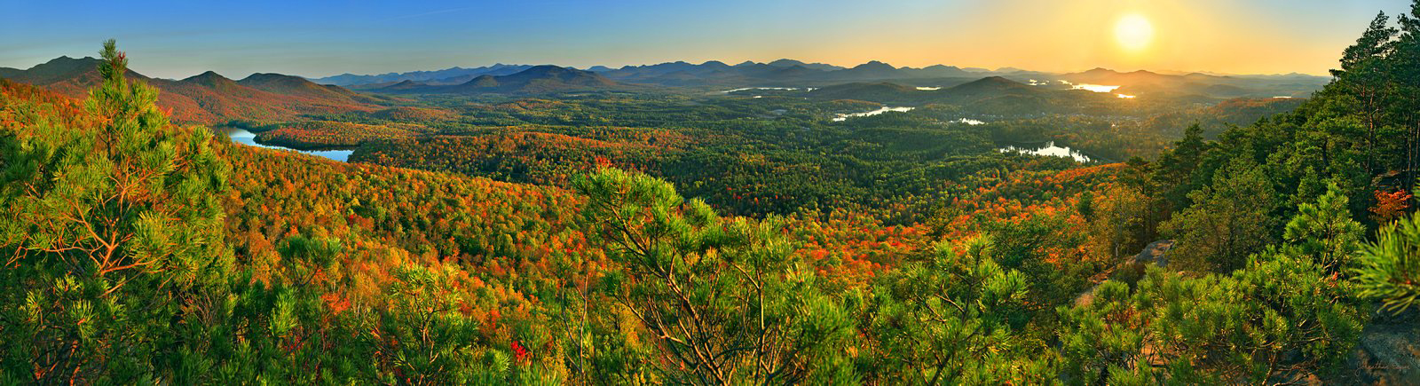 Baker Mt,Saranac Lake,treetop,panorama,fall,2011,Saranac Lakes,McKenzie Mt,High Peaks,Adirondack,mountains,McKenzie Pond,Saranac Lake village,, photo