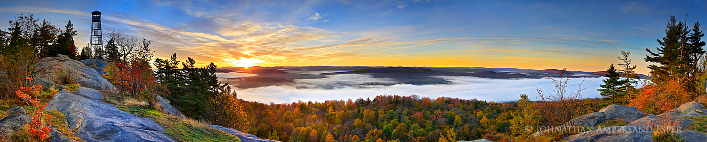 Bald-Rondaxe Mt,Bald Mt,firetower,Rondaxe Firetower,sunrise,fall,panorama,ground,Fulton Chain of Lakes,Second Lake,fog,, photo